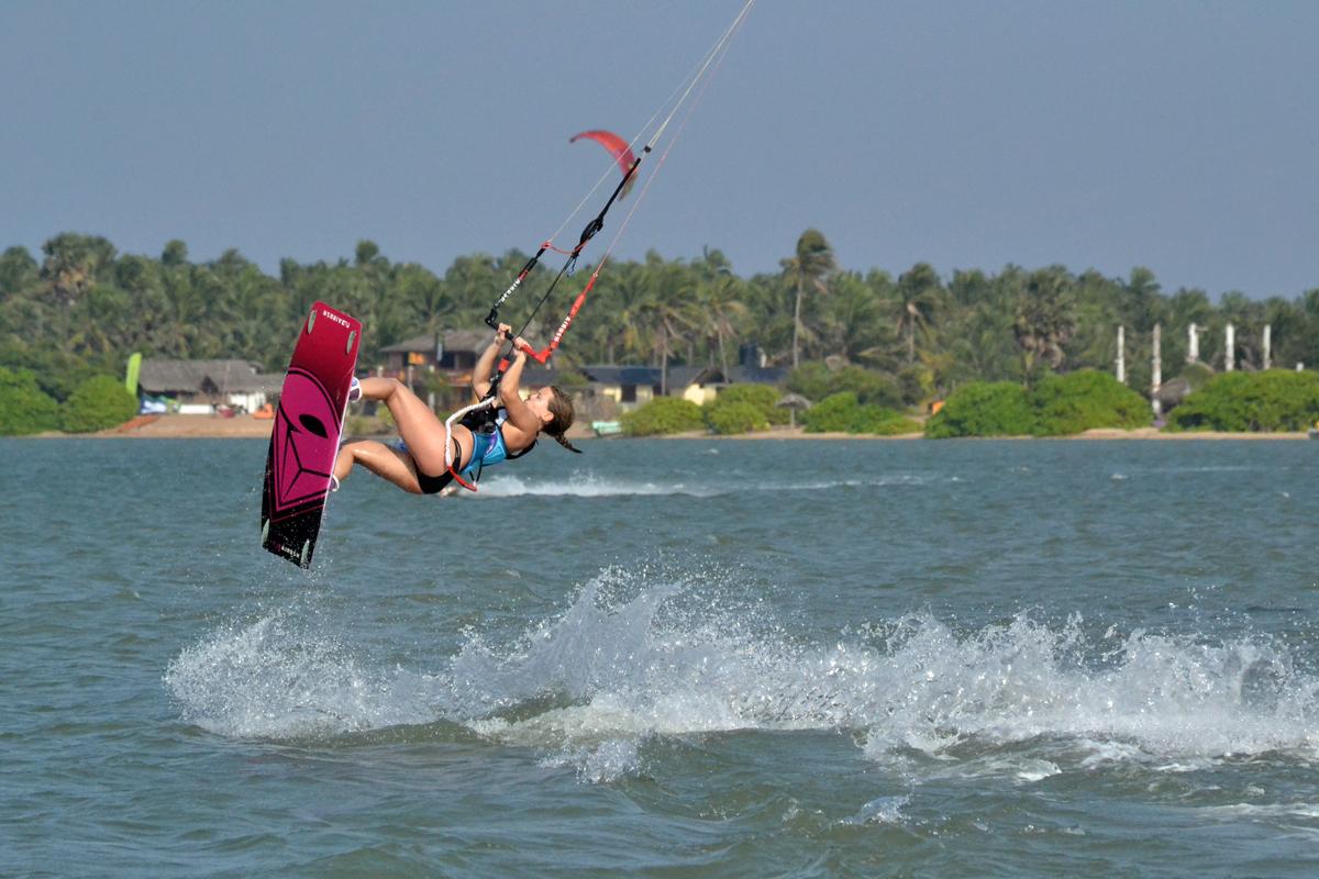 Lina kiting in Kalpitya Lagoon