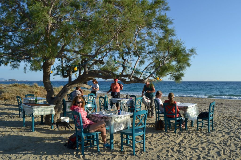 Eating delicious food in Naxos