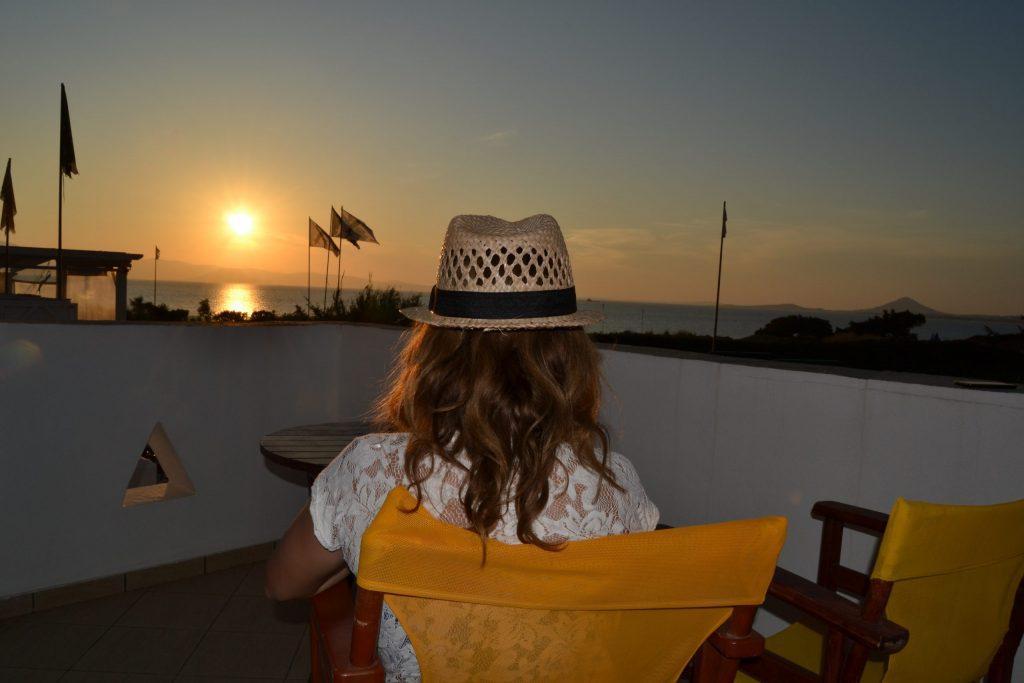 Sunset from balcony at Orkos beach hotel