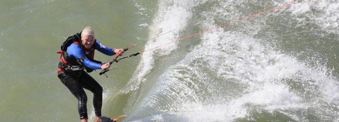 Sir Richard Branson kitesurfing across the channel