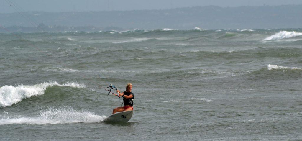 Lina kitesurfing at Canggu, Bali