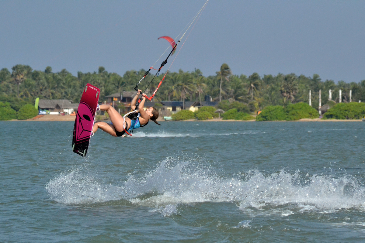 Lina kiting in Kalpitya Lagoon